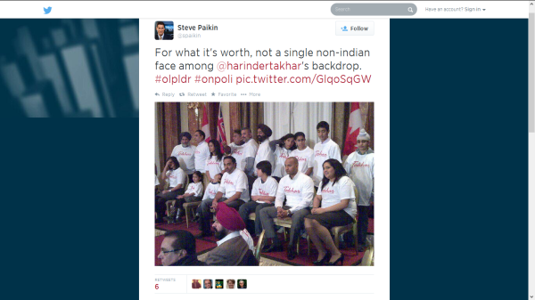 Paikin's non-indian tweet